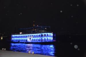 Schaufelraddampfer im Hamburger Hafen, blau beleuchtet